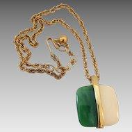 Vintage Petite Crown Trifari Lucite Goldtone Pendant Necklace
