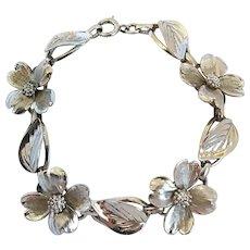 Vintage Sterling Silver Dogwood Flower Leaves Bracelet