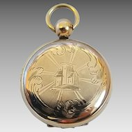Antique Victorian Pocket Watch Style Fancy Engraved Scroll House Motif Gold Filled Locket