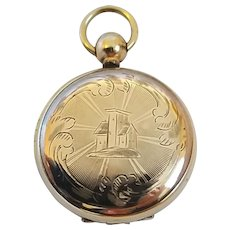 Antique Victorian Pocket Watch Style Fancy Engraved Scroll House Motif Gold Filled Locket - Red Tag Sale Item