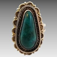 Vintage Sterling Silver Eliat King Solomon Stone Adjustable Ring
