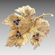 Vintage Binder Bros. Brothers 14k Gold Sapphire Maple Leaf Brooch Pin