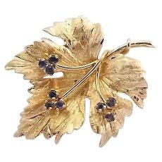 Vintage Binder Bros. Brothers 14k Gold Sapphire Maple Leaf Brooch Pin