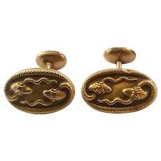 Antique Victorian Era 10k Gold Snake Motif Cufflinks