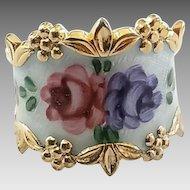 Vintage Sterling Silver Vermeil Enamel Roses Wide Cigar Band Ring