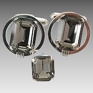 Vintage Sterling Silver Gray Black Emerald Cut Glass Rhinestone Cufflinks Tie Pin Set