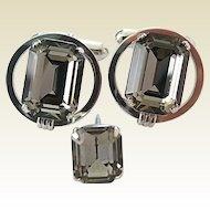 Vintage Sterling Silver Gray Black Emerald Cut Glass Rhinestone Cufflinks Tie Pin Set