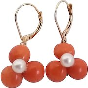 Vintage Assemblage Gold Filled Salmon Coral Cultured Pearl Leverback Earrings