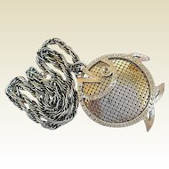 Vintage Whiting & Davis Textured Mesh Big Stylized Fish Pendant Necklace