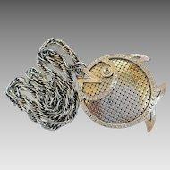 Vintage Whiting & Davis Textured Mesh Big Stylized Fish Pendant Necklace