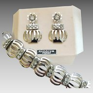 Vintage 1950's Rhodium Plated Rhinestone Flower Pot Bracelet Screwback Earrings Set