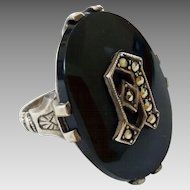 "Unusual Circa 1930's Art Deco Big Bold Sterling Silver Onyx Initial ""A"" Pat. Pend. Snap On Ring"