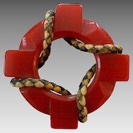 Vintage Red Carved Leather Trim  Bakelite Life Preserver Pin Brooch