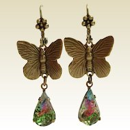German Art Glass Watermelon Tourmaline Glass Butterfly Earrings