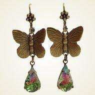 German Art Glass Watermelon Tourmaline Glass Butterfly Earrings