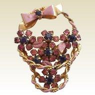 Vintage Flower Basket Figural Pink & Purple Rhinestone Enamel Pin Brooch