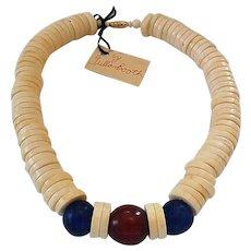 Vintage Tulla Booth Bone Hudson Bay Glass Cherry Amber Necklace