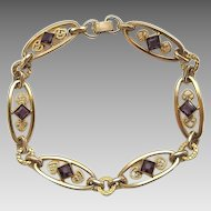 Vintage Gold Filled Simmons Amethyst Purple Glass Stone Bracelet