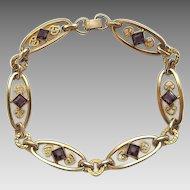 Vintage Gold Filled Simmons Amethyst Purple Glass Stone Bracelet