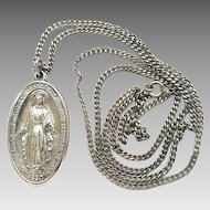 Vintage Sterling Silver Creed Miraculous Blessed Mother Medal On Chain