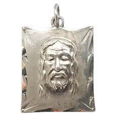 Vintage Sterling Silver Face Of Christ Religious Catholic Medal Charm Pendant
