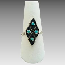 Vintage Sterling Silver Turquoise Southwestern Style Ring Size 9 1/4
