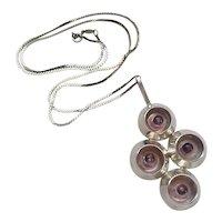 Vintage Scandinavian Swedish Modernist Sterling Silver Amethyst Pendant Necklace