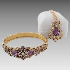 Vintage Avon 1974 Queensbury Victorian Revival Bangle Bracelet & Necklace Pendant
