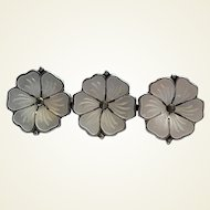 Meka Sterling Silver Denmark White Enamel Triple Flower Pin Brooch