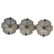 Meka Sterling Silver Denmark White Enamel Triple Flower Pin Brooch