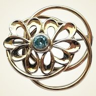Vintage Retro Symetallic Sterling Silver 1/20 14k Gold Filled Blue Stone Pin Brooch