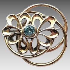 Vintage Retro Symetallic Sterling Silver 1/20 14k Gold Filled Blue Stone Pin Brooch