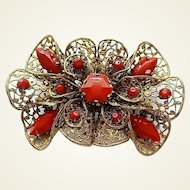 Vintage Big Czech Filigree Opaque Red Glass Stones Pin Brooch