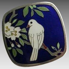 Vintage Sterling Silver Japanese Cloisonne Enamel Dove Bird Cherry Blossom Flower Button