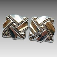 Vintage Mexican Sterling Silver Big Bold Woven Square Motif Clip Earrings