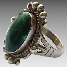 Vintage Sterling Silver Turquoise Southwestern Style Ring Size 7