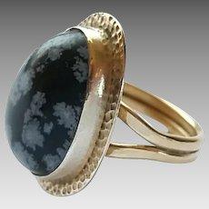 Vintage Studio Art Hammered Sterling Silver Spotted Jasper Ring Size 8 1/2