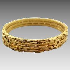 Vintage Trio Of Crown Trifari Goldtone Bangle Bracelets Set