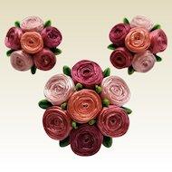 Vintage Western German Pink Ribbon Roses Pin Clip Earrings Set