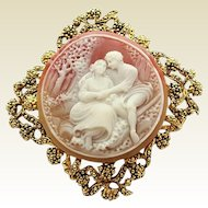 Vintage Large Frame Open Work Lovers Man Woman Cameo Pin Brooch