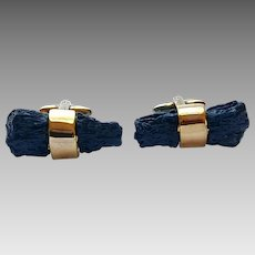 Vintage Kenneth Lane KJL Faux Lapis Rock Goldtone Cufflinks
