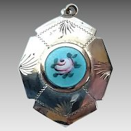 Vintage Sterling Silver Guilloche Enamel Rose Locket Pendant Charm