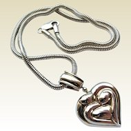Vintage Sterling Silver Loving Family Large Heart Pendant on Chain