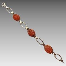 Vintage Gilt Sterling Silver Carved Carnelian Flower Bird Link Bracelet