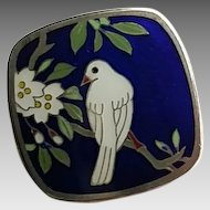 Vintage Sterling Silver Japanese Cloisonne Enamel Dove Bird Cherry Blossom Flower Button