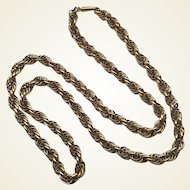 "Vintage Gold Filled Krementz Thick 24"" Rope Necklace"