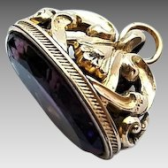 Antique Victorian Era Gold Filled Amethyst Glass Fob Charm Pendant