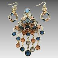 Vintage Large Bezel Set Rhinestone Dangle Brooch Pin Earrings Set