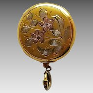 age Ketcham McDougall Engraved Rose Gold Plated Floral Retractable Pin Brooch