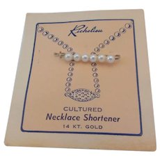 Vintage Richelieu White Gold Wire Cultured Pearl Necklace Shortener